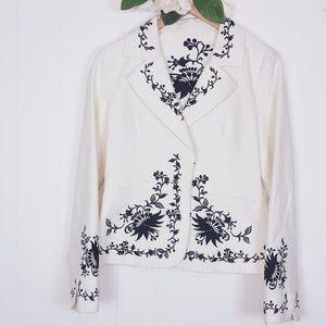 WHBM | Cream/Black Flower Scroll Blazer Size 8